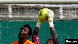 Wilfried Bony de la Côte d'Ivoire lors du match de qualification pour la Coupe d'Afrique des Nations au stade Felix Houphouet Boigny à Abidjan, le 19 novembre 2014.