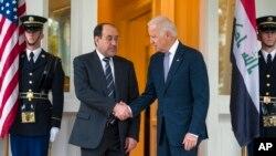 지난 30일 미국을 방문한 누리 알-말리키 이라크 총리(왼쪽)가 조 바이든 미 부통령과 만남을 가졌다. (자료사진)