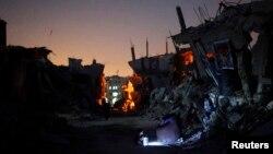 Suasana di kota Gaza (22/9). Israel dan Palestina setuju untuk melanjutkan pembicaraan bulan depan mengenai pembuatan persetujuan gencatan senjata Gaza permanen yang ditanda-tangani bulan lalu, Selasa (23/9).