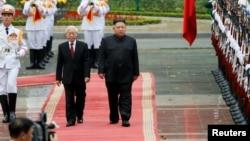 Chủ tịch Nguyễn Phú Trọng và Lãnh tụ Triều Tiên Kim Jong Un tại Hà Nội, ngày 1/3/2019.