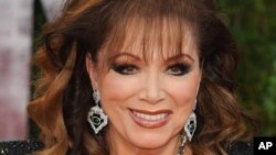 FILE - Jackie Collins at the Vanity Fair Oscar Party.