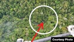 Titik lokasi penemuan helikopter PK-USS milik PT NUH di Kabupaten Paniai, yang sempat hilang kontak pada Kamis (17/9). Jumat 18 September 2020. (Courtesy: Polda Papua)