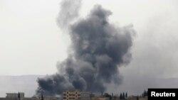 Suriyaning Kobani shahridagi manzara, 3-oktabr, 2014