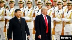 2017年11月9日美國總統特朗普與中國國家主席習近平在北京歡迎儀式上