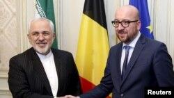 جواد ظریف، وزیر امورخارجه ایران در کنار نخست وزیر بلژیک