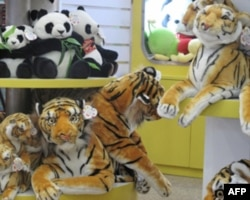 老虎玩具和国宝熊猫玩具摆在一起