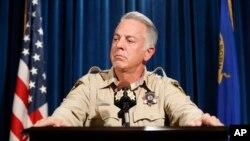 El jefe de policía de Las Vegas, Joseph Lombardo, informa sobre la investigación del masivo tiroteo del Festival Route 91 Harvest, el pasado 1 de octubre, en conferencia de prensa en la sede de su Departamento policial. Enero 19 de 2018.