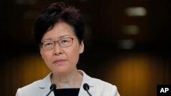 香港特首林鄭月娥在香港舉行記者會。 (2019年8月27日)