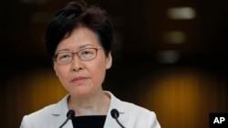 香港特首林鄭月娥在2019年8月27號的記者會上。