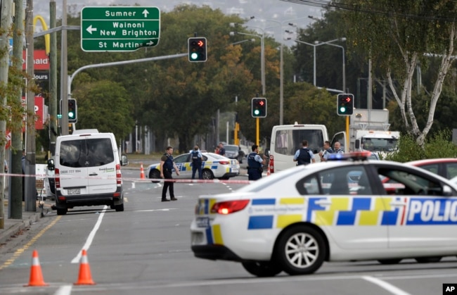 Police block the road near the shooting at a mosque in Linwood, Christchurch, New Zealand, March 15, 2019