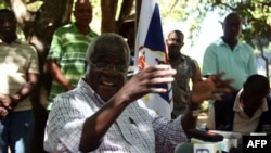 FILE - Renamo's Afonso Dhlakama gives a press conference in Gorongosa's mountains, Mozambique, , April 10, 2013.
