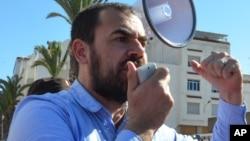 Nasser Zefzafi, le leader du mouvement de protestation dans la ville d'Al-Hoceïma, dans le nord du Maroc, 18 mai 2017.