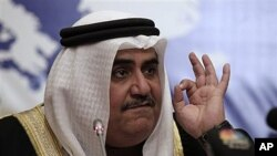 Bahraini Foreign Minister Sheik Khalid bin Ahmed Al Khalifa speaks during a press conference in Manama, Bahrain