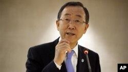 Sekjen PBB Ban Ki-moon berbicara pada sidang Dewan Hak Asasi Manusia PBB di Jenewa untuk membahas penyelesaian konflik di Suriah (10/9).