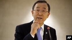Tổng thư ký Liên hiệp quốc Ban Ki-moon nói chuyện trước đại biểu Hội đồng Nhân quyền Liên hiệp quốc ở Geneve, 10/9/12
