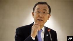 10일 스위스 제네바에서 열린 유엔 인권 회의에서 발언하는 반기문 유엔 사무총장.