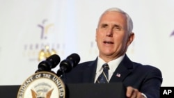 Vice President Mike Pence says state and local authorities should make decisions about Confederate statues, Aug. 22, 2017.