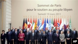 US, European and Arab leaders gather, March 19, 2011 at the Elysee Palace in Paris after a crisis summit on Libya