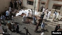 Hiện trường vụ đánh bom tự sát ở bệnh viện Quetta, Pakistan, ngày 8/8/2016.