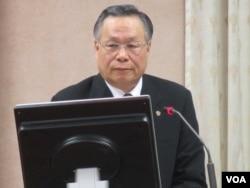 台湾国防部长严明 (美国之音 张永泰拍摄)