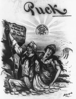 A cartoon from the political magazine Puck in support of ending silver purchases which were expanding the money supply