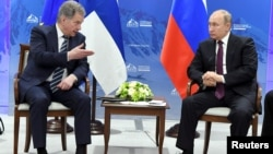 President of Finland Sauli Niinisto meets with President of Russia Vladimir Putin in St. Petersburg, Russia, Apr. 9, 2019 during the International Arctic Forum.