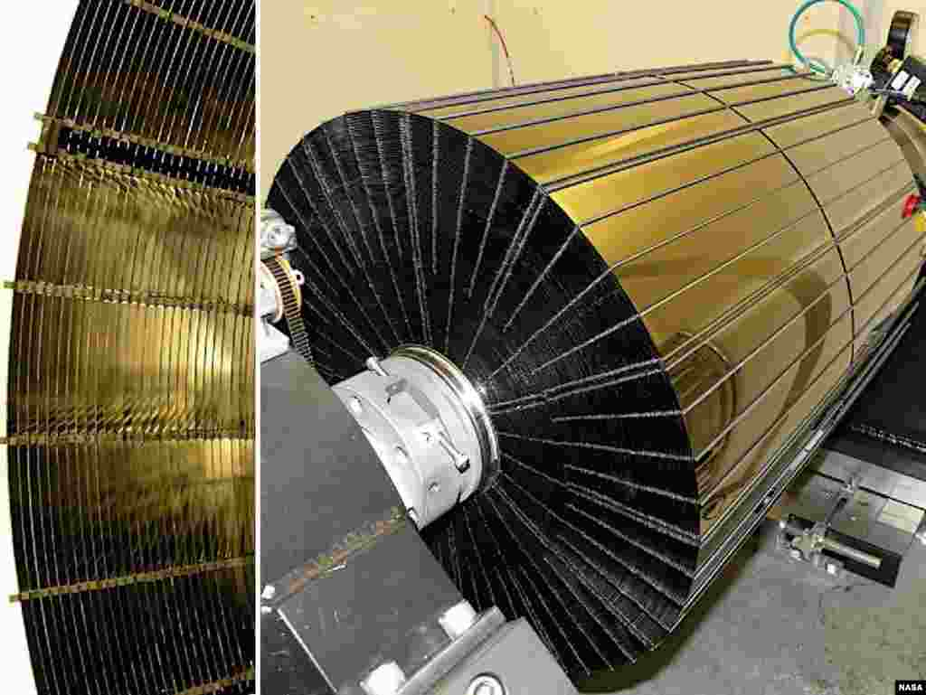 NuSTAR has a complex set of mirrors, or optics, that will help it see high-energy X-ray light in greater detail than ever before. These images show different views of one of two optic units onboard NuSTAR. (NASA)