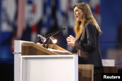 Ambassador to the United Nations Samantha Power assures American Israel Public Affairs Committee conferees of continued U.S. support for the Jewish state, in Washington, March 2, 2015.