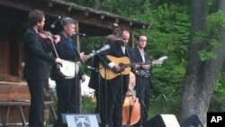 The Gibson Brothers performing on the Cabin Stage at Merlefest 2010