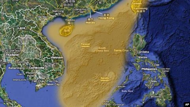 China claims the highlighted portion of the South China Sea. Many other governments also claim all or part of the South China Sea.