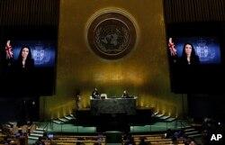 Rekaman video saat Perdana Menteri Selandia Baru Jacinda Ardern menyampaikan pidato untuk Sidang Umum PBB, 24 September 2021.