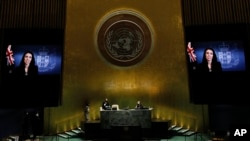 New Zealand Prime Minister Jacinda Ardern, in a pre-recorded message, addresses the 76th session of the U.N. General Assembly, Sept. 24, 2021, at U.N. headquarters.