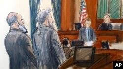 Сулейман Абу Гейт (крайний слева) стоит рядом со своим адвокатом Стэнли Коэном в зале суда. Нью-Йорк (эскиз)