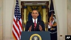 Tổng thống Obama đọc diễn văn trình bày sách lược chống nhóm Nhà nước Hồi giáo tại Tòa Bạch Ốc, Washington, 10/9/2014.