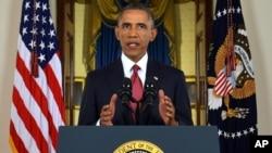Presiden AS Barack Obama saat mengungkapkan rencana militer AS untuk menghancurkan ISIS (10/9).