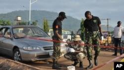 Explosion d'une bombe à Abuja, au Nigeria, le samedi 3 octobre 2015. (AP photo)