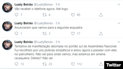 Tweet do activista e músico Luaty Beirão a 23 de janeiro de 2020 sobre manifestação e detenção em Luanda, Angola