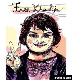 Cartoon apelando a libertação da jornalista