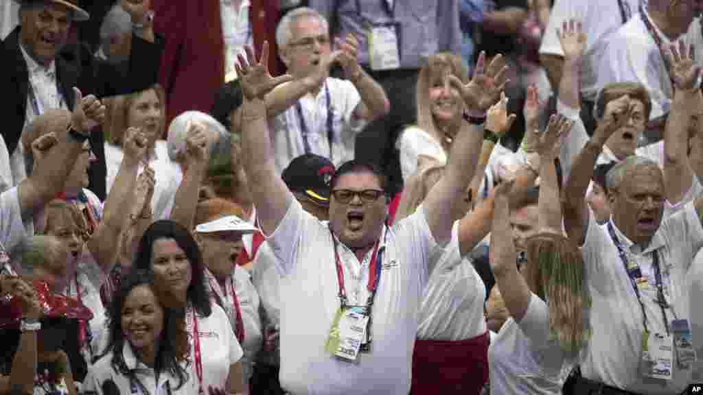 Les militants du parti républicain, lors de la convention nationale républicaine, le mardi 19 juillet, 2016, à Cleveland.