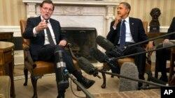 El presidente Barack Obama (derecha), recibió al primer ministro de España, Mariano Rajoy, en la Casa Blanca.