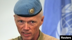 Norwegian Major General Robert Mood, chief of the United Nations Supervision Mission in Syria (UNSMIS), speaks during a news conference in Damascus July 5, 2012.