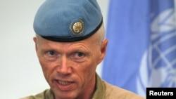 联合国叙利亚观察团团长穆德少将2012年7月5日在大马士革举行的一次记者会上发言