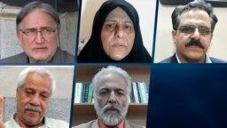 بالا از راست: محمدحسین سپهری، فاطمه سپهری و محمد نوریزاد - پایین از راست: عبدالرسول مرتضوی و هاشم خواستار