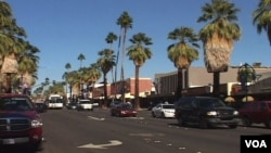 Palm-lined streets in Palm Springs