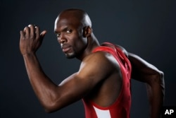 Track and field athlete LaShawn Merritt poses for photos at the 2016 Team USA Media Summit March 8, 2016, in Beverly Hills, California.