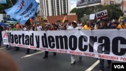 Libertad y democracia, así expresaron los venezolanos a través de carteles, su inconformidad con la actual situación de su país. 1 de abril de 2017. Foto: Álvaro Algarra / VOA.