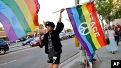 FILE - Bryan Kimpton, a supporter of the School Success and Opportunity Act (AB1266) waves a flag while celebrating at a rally organized by San Diego LGBTQ rights organizations Canvass for a Cause, SAME Alliance, and Black and Pink.
