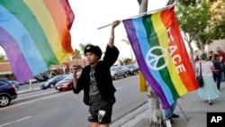 一名同性恋支持者在圣地亚哥的LGBTQ同性恋权利组织的集会上挥舞着彩虹旗(资料照片)