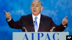 미국을 방문한 베냐민 네타냐후 이스라엘 총리는 2일 워싱턴에서 열린 친이스라엘 로비단체, '미국-이스라엘 공공정책위원회' 회의에서 기조연설을 하고 있다.