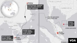 Malaysia missing plane map in Indonesian